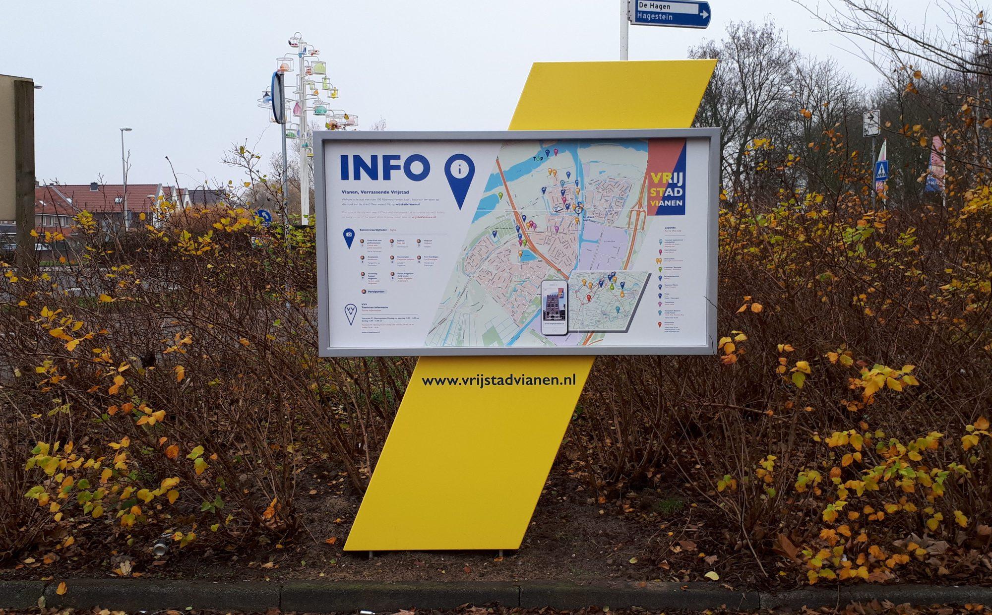 Bewegwijzeringsbord gemeente Vianen met plattegrond